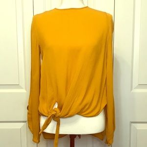 🖤 Zara Mustard Slit Sleeve Front Tie Blouse 🖤